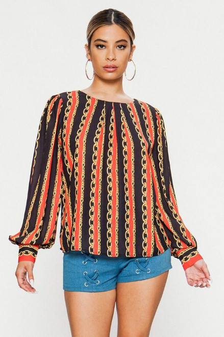 CHAIN LINK PRINT LONG SLEEVE BLOUSE