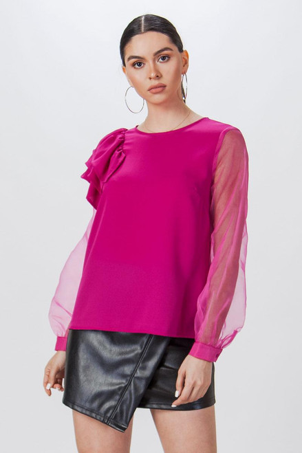 MAGENTA LONG SLEEVE SHEER BLOUSE