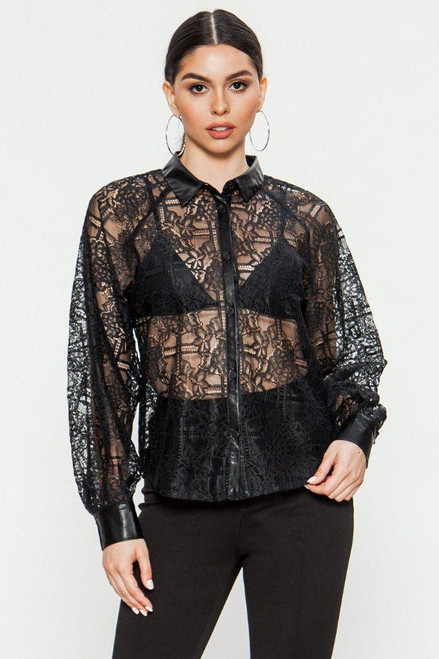 BLACK FAUX TRIM LACE TOP