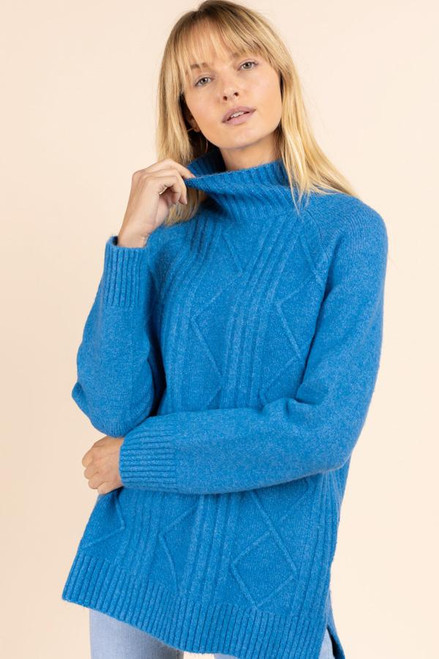 BLUE CABLE KNIT TURTLENECK SWEATER