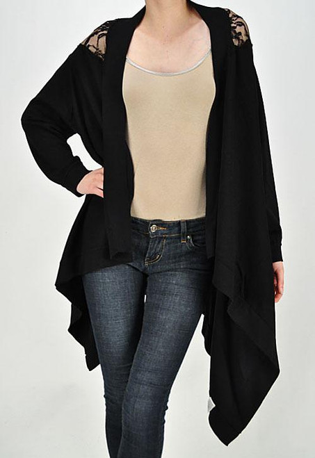 BLACK LACE BACK CARDIGAN