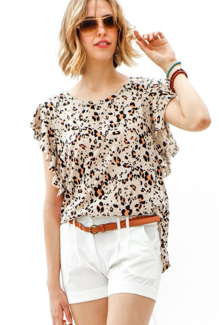 TAUPE LEOPARD RUFFLE SLEEVE TOP