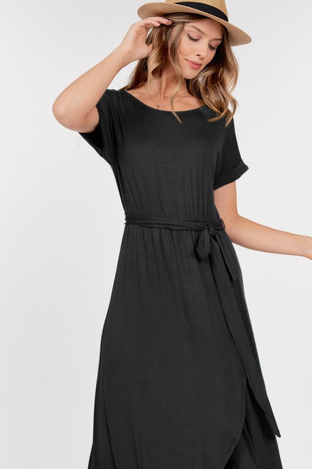 BLACK FRONT HIGH RISE DRESS