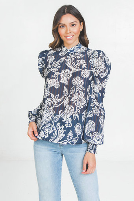 Navy Printed Shadow Top