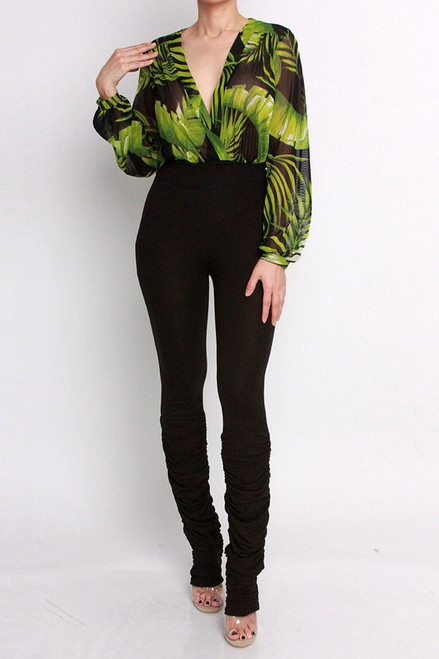 BLACK GRASS PRINT BODYSUIT