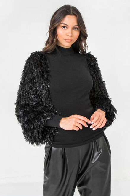 BLACK CONTRAST SLEEVE SWEATER TOP