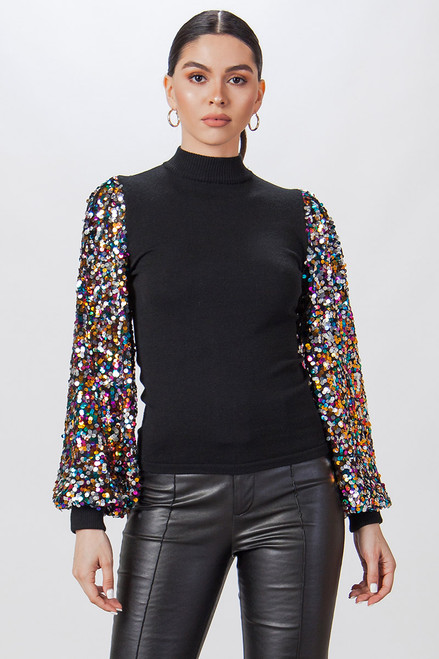 BLACK CONFETTI SLEEVE SWEATER