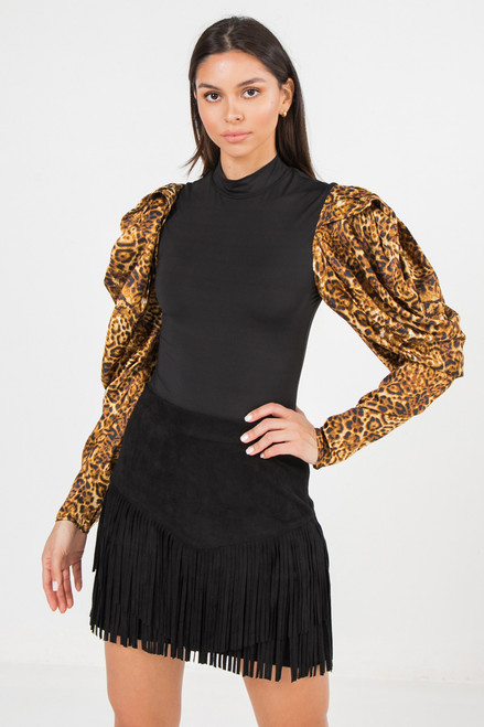 BLACK LEOPARD SLEEVES BODYSUIT