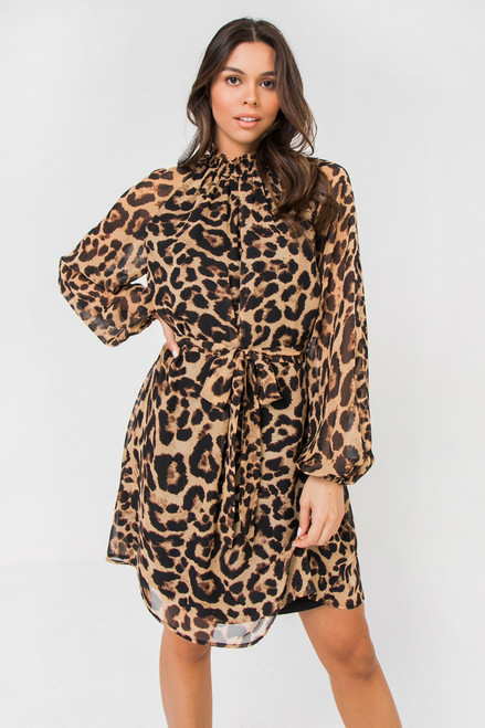 LEOPARD PRINT HIGH NECK DRESS