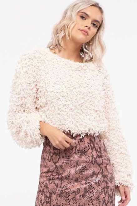 CREAM POPCORN TEXTURED SWEATER