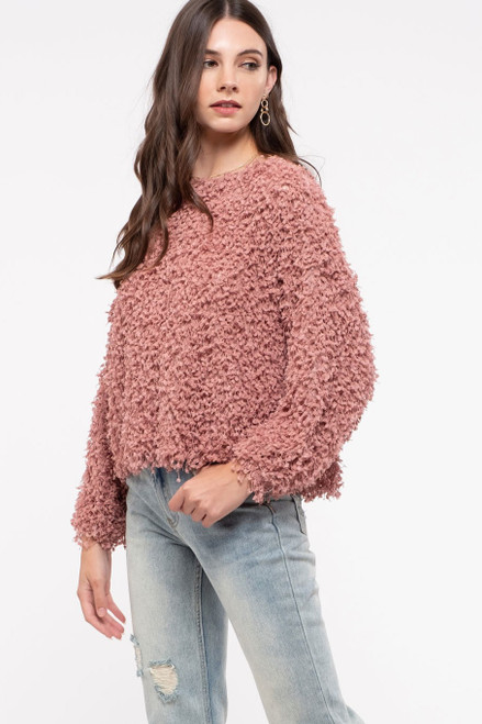 MAUVE POPCORN TEXTURED SWEATER