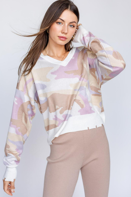 BEIGE CAMO DISTRESSED SWEATER