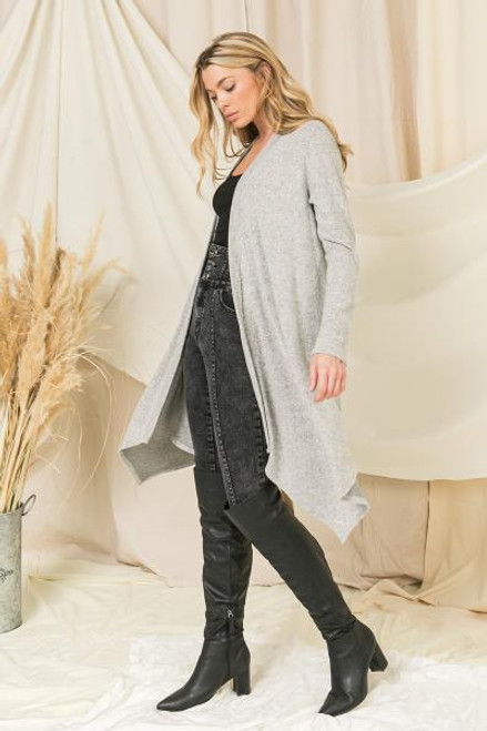 SUPER SOFT HEATHER GREY CARDIGAN