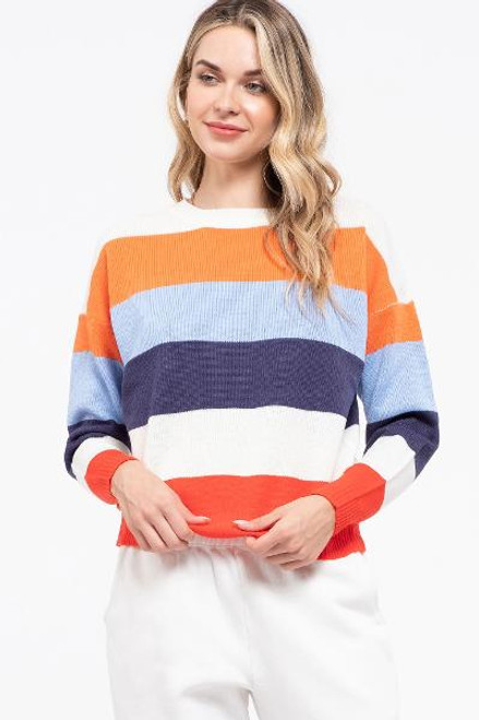 ORANGE COMBO STRIPE SWEATER