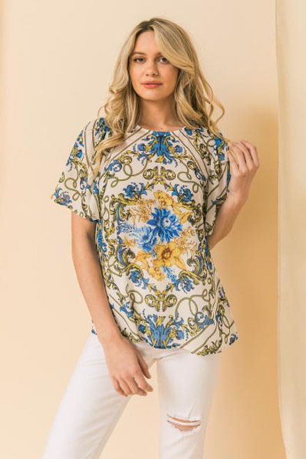 WHITE BLOUSE W/GOLD AND BLUE PRINT