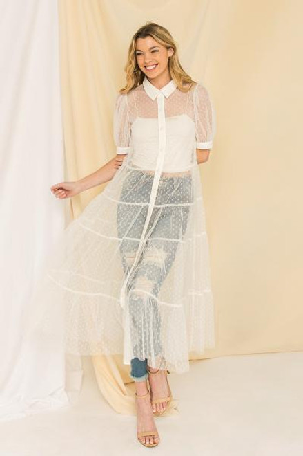 WHITE LONG TULLE TOP
