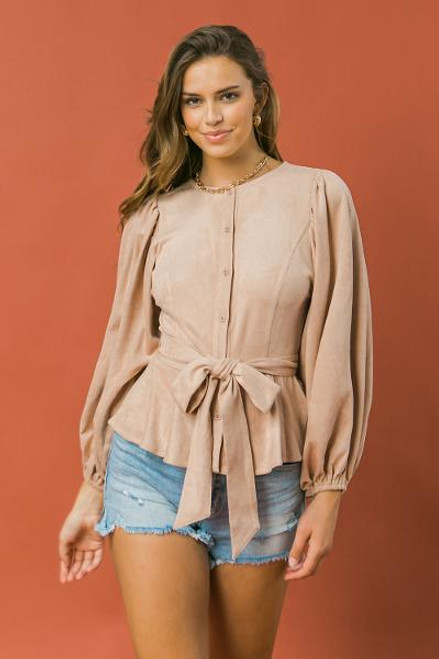 PINK FAUX EXAGGRATED SLEEVE BLOUSE