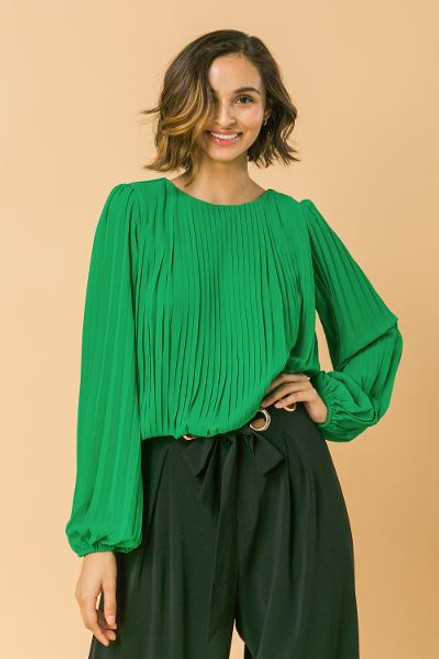 KELLY GREEN PLEATED BLOUSE
