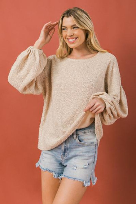 TAUPE KNIT TOP W/ BALLOON SLEEVE