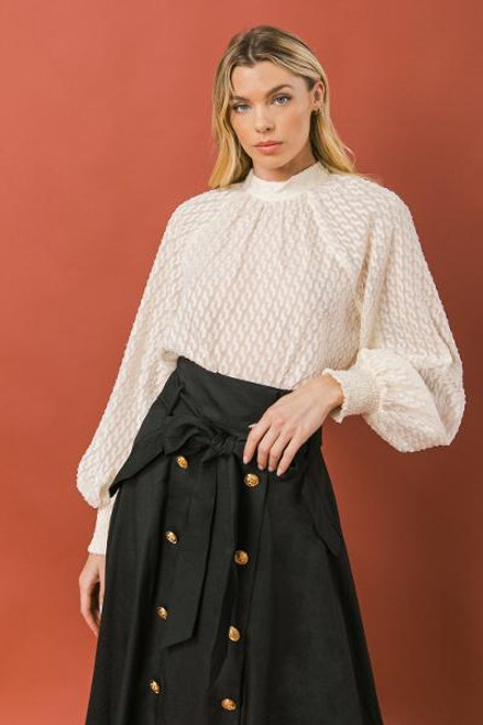 OFF WHITE TEXTURED WOVEN TOP
