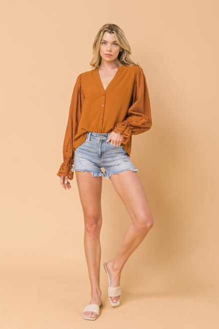 RUST EXAGGERATED SLEEVE BUTTON DOWN