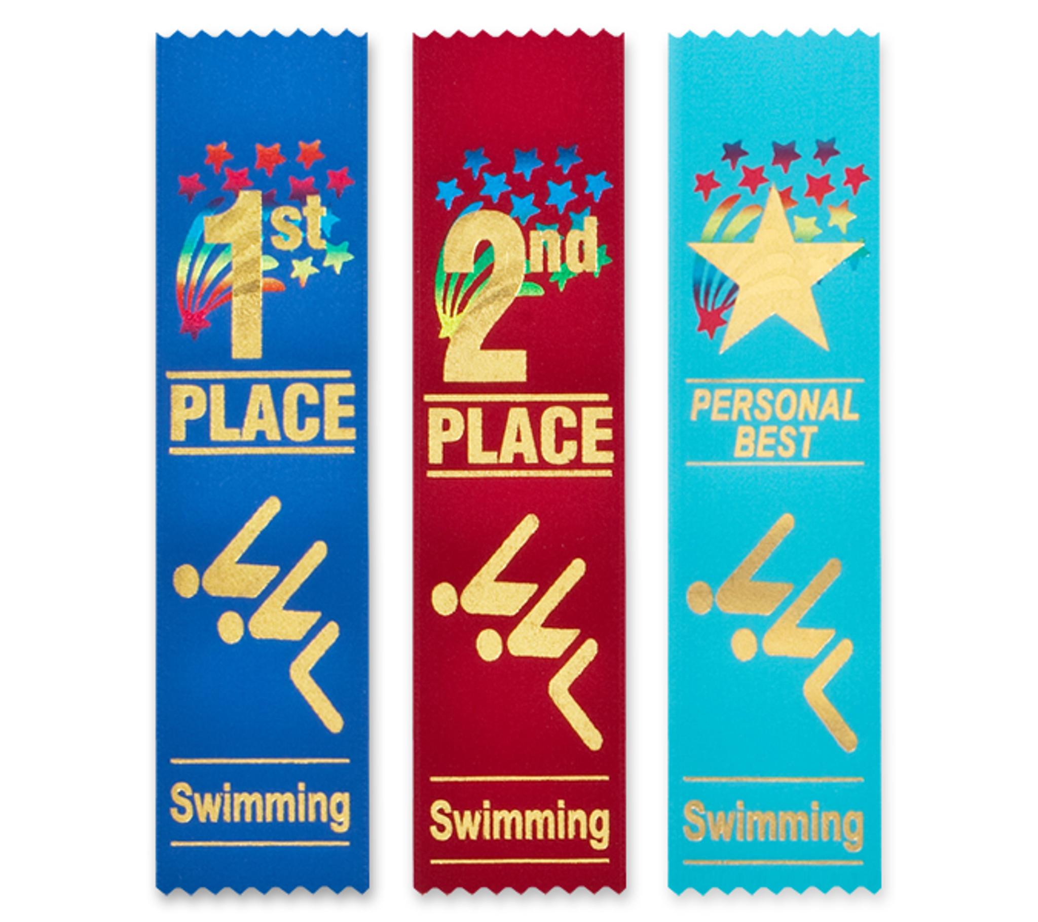 Swimming Award Ribbons Flat Style