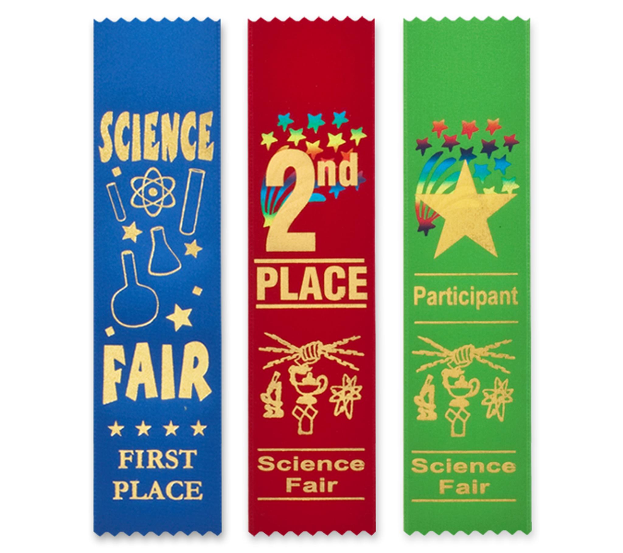 Science Fair Award Ribbons Bookmark Style