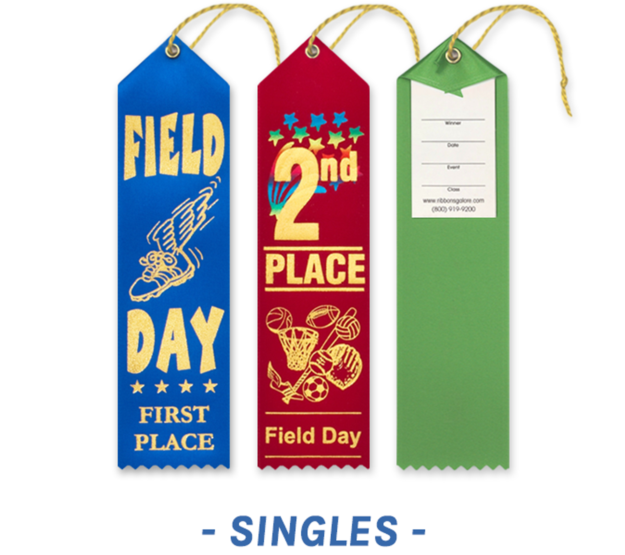 Field Day Award Ribbons with Card and String