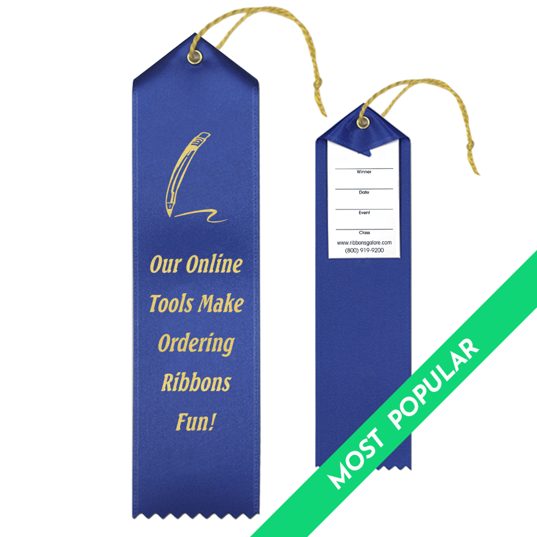 Custom Award Ribbon 2x8 Peaked with Event Card and String