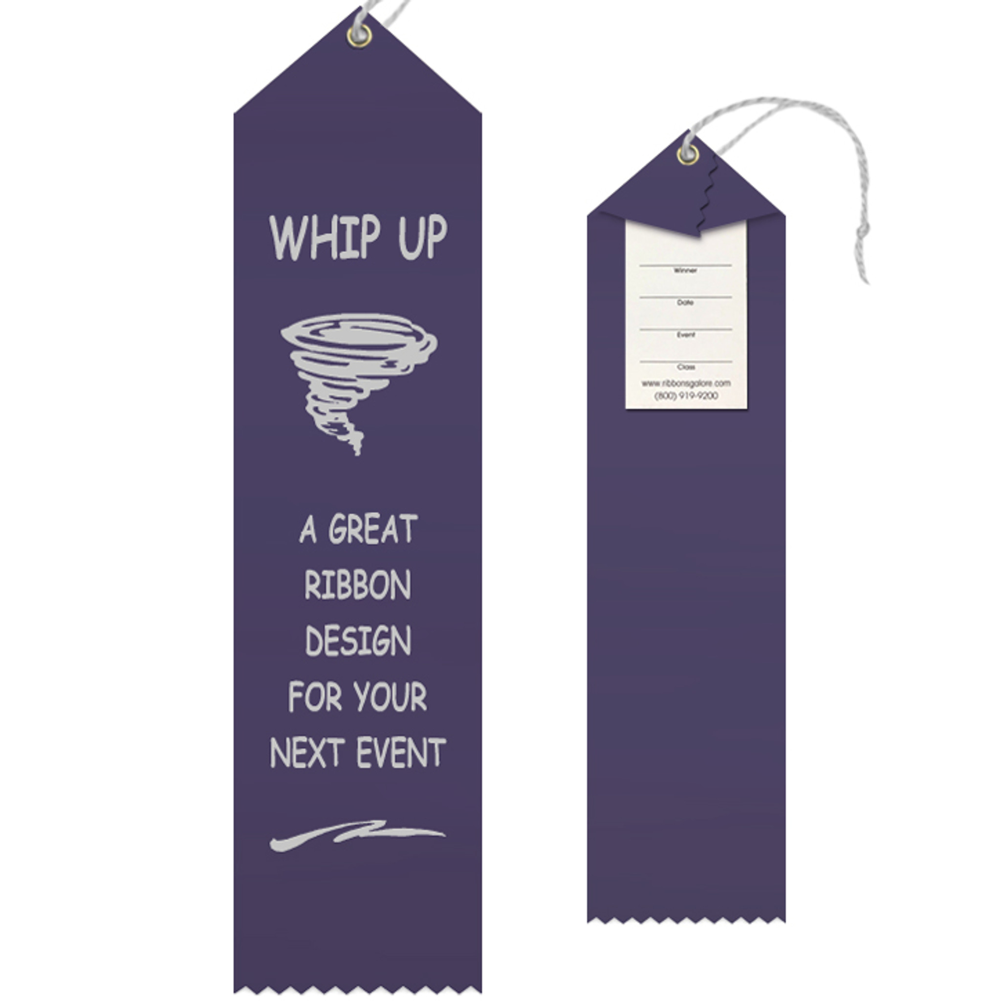 Custom Award Ribbon 2.5x10 Peaked with Event Card and String