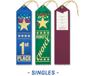 Starburst Award Ribbons with Card and String