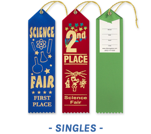 Science Fair Award Ribbons with Card and String