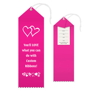Custom Award Ribbon 2.5x8 Peaked with Event Card and String