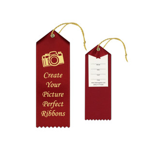 Custom Award Ribbon 2x6 Peaked with Event Card and String