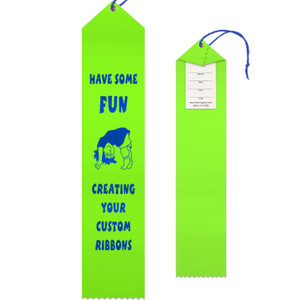 Custom Award Ribbon 2.5x12 Peaked with Event Card and String