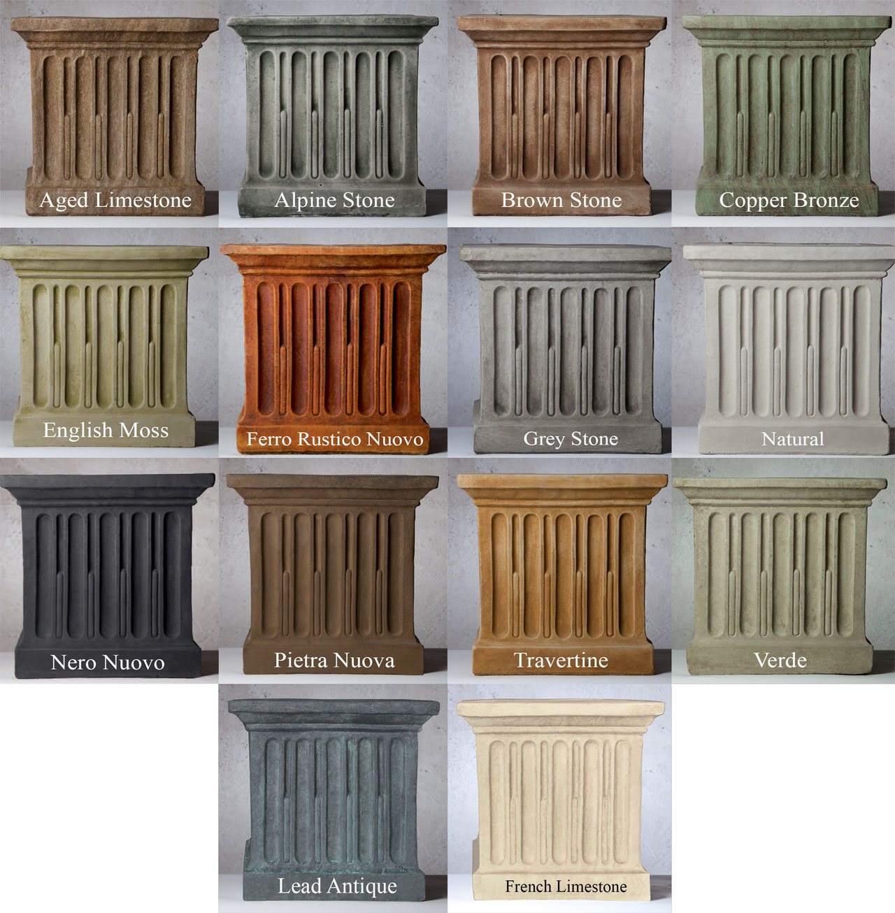 patina (color) finishes for campania fountains, statues, planters