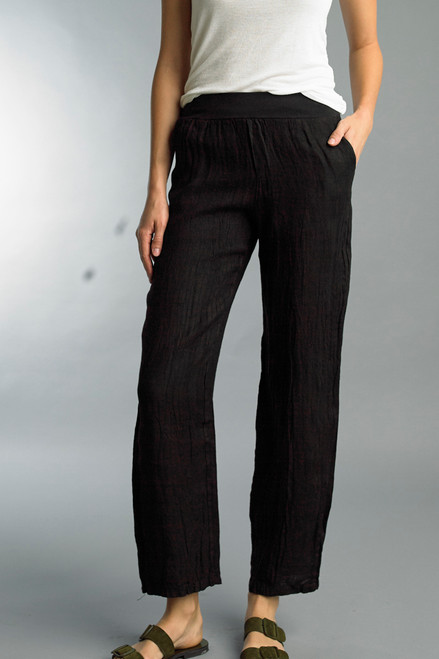 Tempo Paris Black Cotton Linen Pull-On Pants