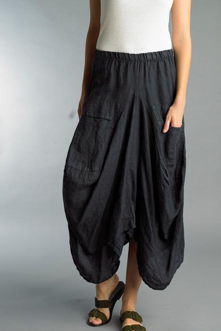 Tempo Paris Navy Linen Relaxed Bubble Skirt