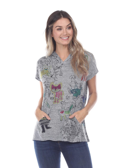 Inoah Grey Heather Cat's Life Cap Sleeve Kangaroo Pocket Hoodie Hi-Lo Knit Top