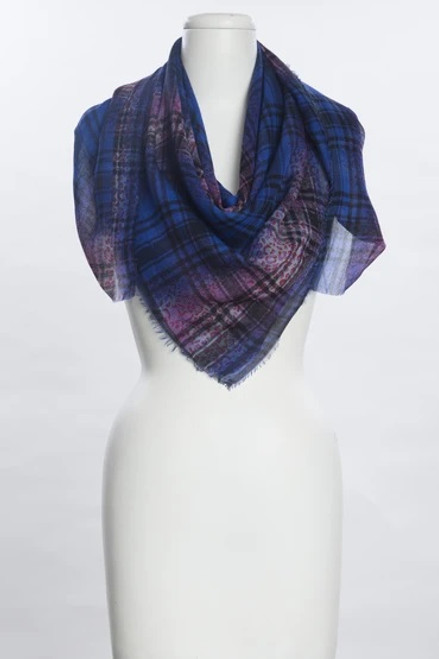 Vivante Square Plaid & Animal Print Scarf