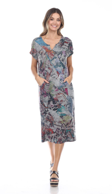 Inoah Colorful Abstract Heather Grey Cap Sleeve Straight Knit Dress