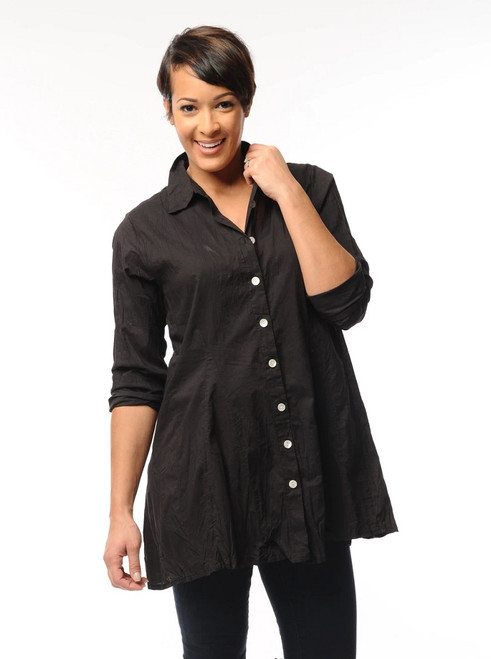 Tulip Black Cotton Long Sleeve Button-Up Flare Tunic Shirt