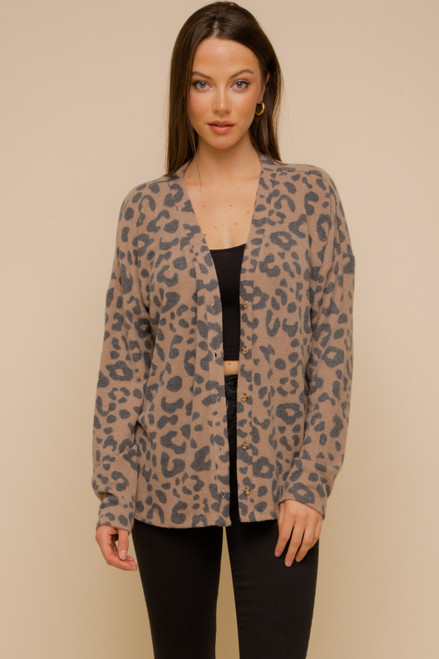 Hem & Thread Brown Leopard Long Sleeve Button-Up Relaxed Cardigan