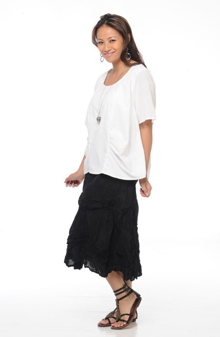 Tulip Black Ruched Cotton Skirt