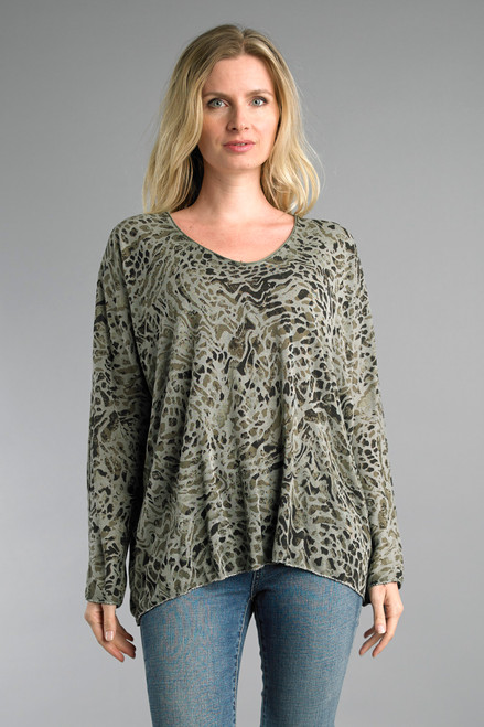 Tempo Paris Olive Animal Print Long Dolman Sleeve V-Neck Sweater