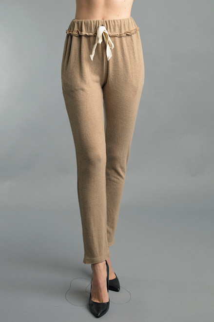 Tempo Paris Comfy Caramel Drawstring Straight Knit Pants