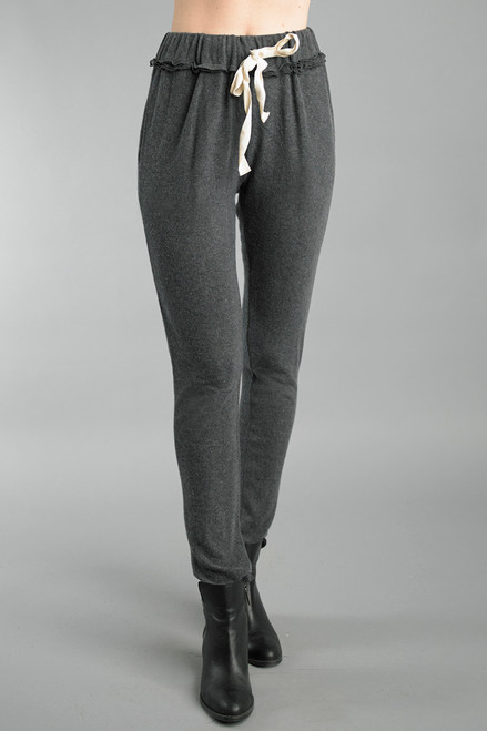Tempo Paris Grey Comfy Drawstring Waist Straight Knit Pants