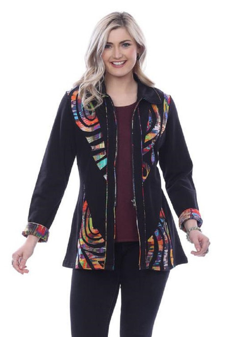 Parsley & Sage Black Cotton with Colorful Cutwork Trim Long Sleeve Zip-Up Jacket