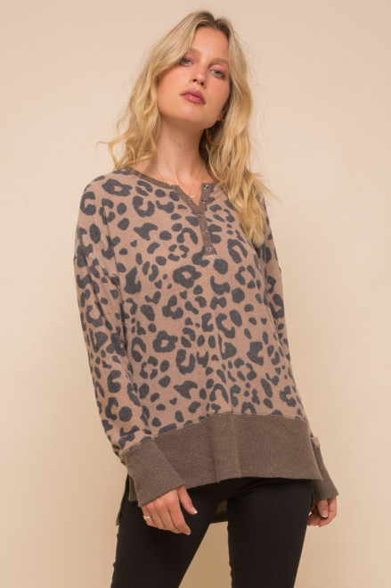 Hem & Thread Camel Leopard Long Sleeve Henley Cozy Sweater