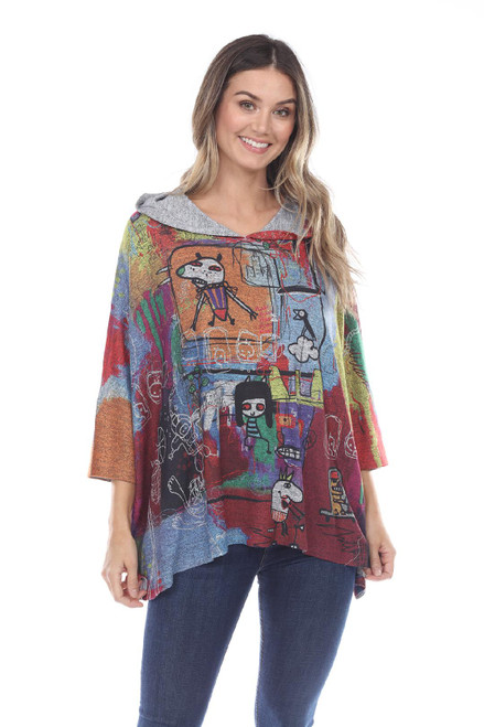 Inoah Colorful Cartoon Print 3/4 Dolman Sleeve Hoodie Hi-Lo One-Size Knit Top